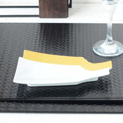 羽子板重ね 銘々皿 2色【有田焼 和食器 白い食器 羽子板 小皿 銘々皿 取り皿 磁器 和モダン おしゃれ お正月 お祝い ゴールド シルバー おもてなし】