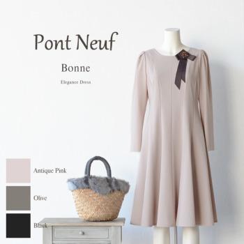 【送料無料】Pont Neuf(ポンヌフ)ボンヌ AI3019【日本製 レディースファッション ワンピース 婦人服 ミディ丈 ポケット付 きちんと感 長袖 フレアー 大人可愛い 上品 おしゃれ】