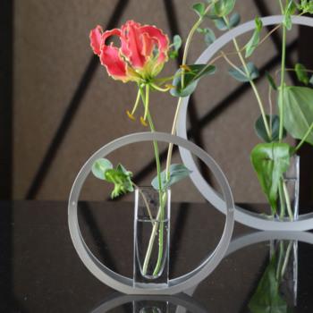 UTAKATA うたかた ガラス花器付 Sサイズ UT-1【ALART アルアート 花器 花びん 花瓶 フラワーベース 一輪挿し 花材 日本製 和モダン おしゃれ 金属 アルミ ガラス花器】