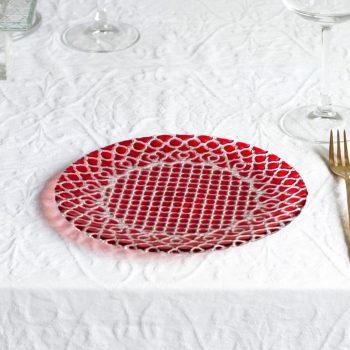 ハナ Hana プレート21cm レッド HA2101RD【トルコ製 ガラス食器 おしゃれ おもてなし パーティー お皿 デザート皿 ケーキ皿】