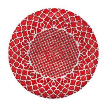 ハナ Hana プレート28cm レッド HA2801RD【トルコ製 ガラス食器 おしゃれ おもてなし パーティー お皿 ディナー皿 丸皿】
