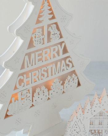 メリークリスマス ツリー NX-05【クリスマスツリー 飾り 装飾 ディスプレイ おしゃれ アンティーク 置物 オブジェ LEDライト 電池式】
